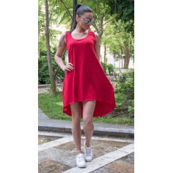Спортно-елегантна дамска туника червен цвят