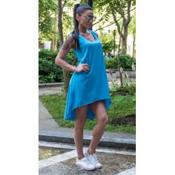 Спортно-елегантна дамска туника цвят тюркоаз