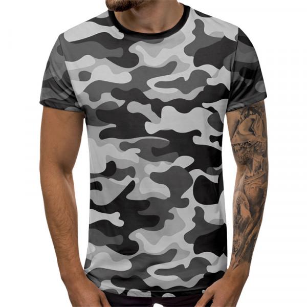 Мъжка тениска сив камуфлаж