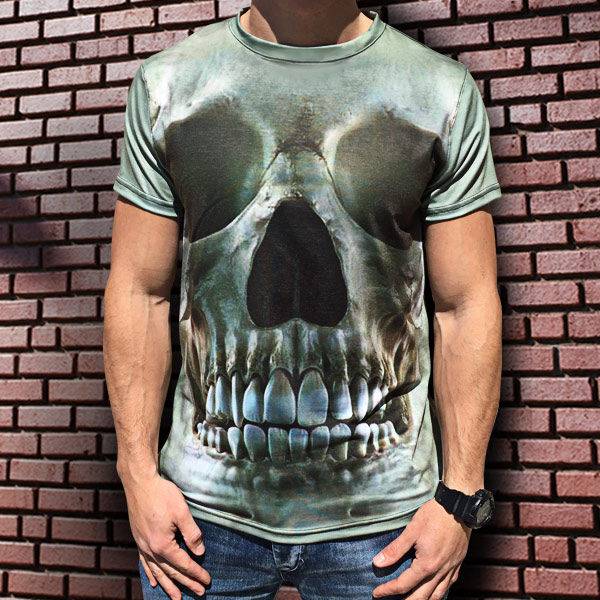 3D мъжка тениска с череп