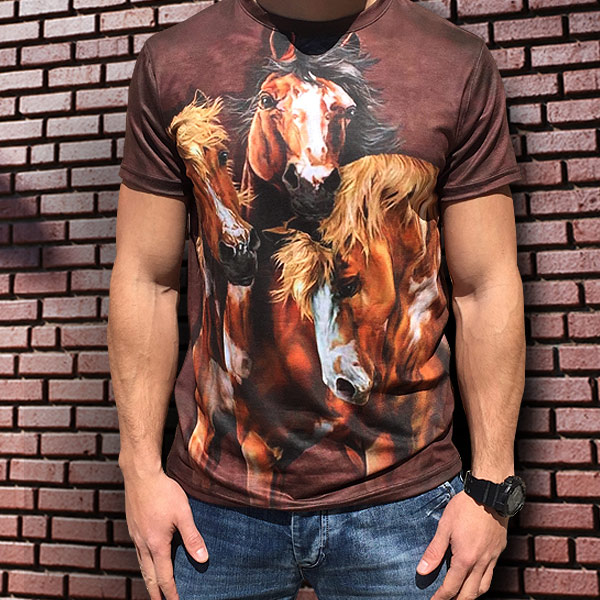 3D  мъжка тениска с Коне