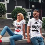 Комплект тениски за влюбени двойки Mr and Mrs Right