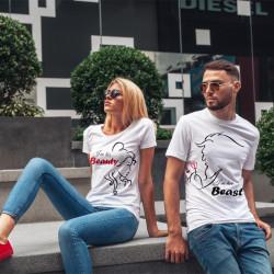 Комплект тениски за влюбени двойки Beauty and the Beast