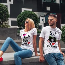 Комплект тениски за влюбени двойки Панда