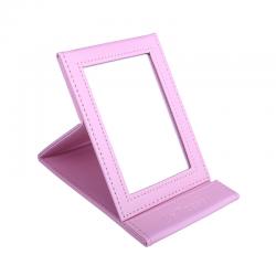 Компактно кожено козметично огледало за гримиране - Розово
