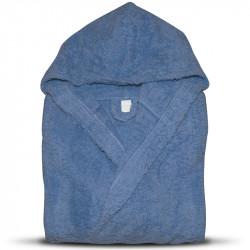 Хавлиен халат за баня с качулка и джобове 100% памук Маер (Тъмносин цвят)