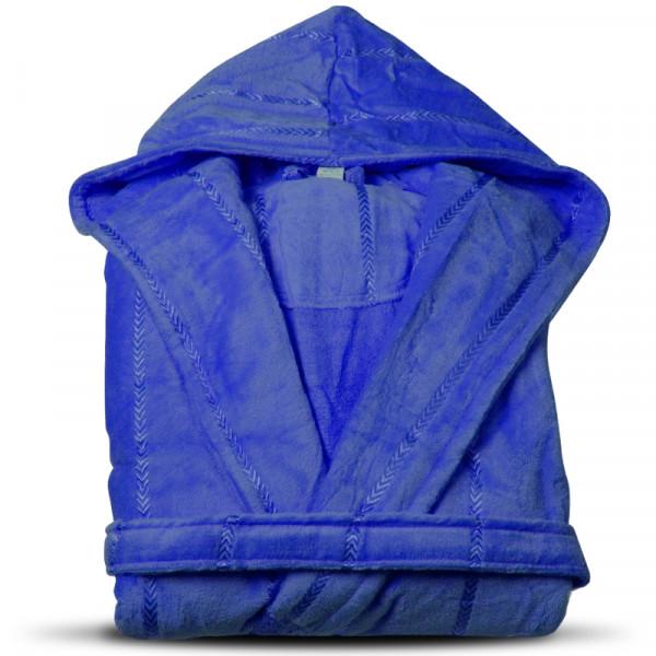 Луксозен халат за баня с качулка и джобове - Нишка (Парламент цвят)