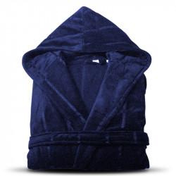 Луксозен халат за баня с качулка и джобове - Нишка (Тъмносин цвят)