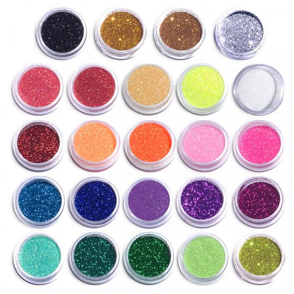 Комплект 24 цвята фин брокат за декорация на маникюр