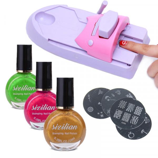 Комплект за декорация на нокти с машинка за печат и лакове