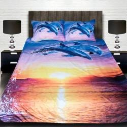 3D луксозен спален комплект ''Залез с делфини''