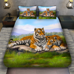 3D луксозен спален комплект Двойка тигър