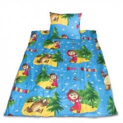 Комплект от спално бельо за бебе Маша и Мечока в синьо