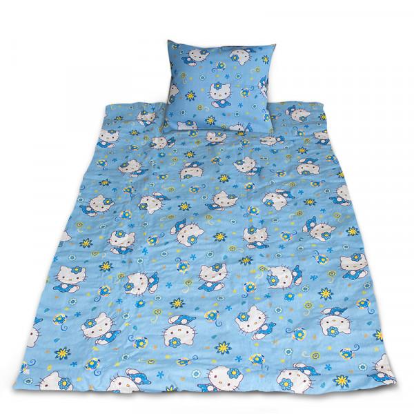Комплект от спално бельо за бебе Hello Kitty - син