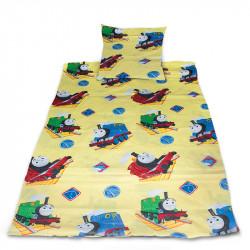 Комплект от спално бельо за бебе Влакче в жълто