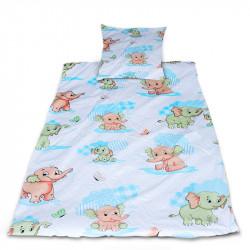 Комплект от спално бельо за бебе Слончета - син