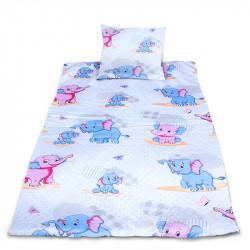 Комплект от спално бельо за бебе Слончета - розов