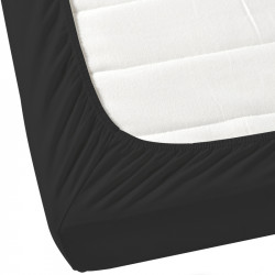 Черен чаршаф с ластик от ранфорс