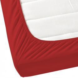 Червен чаршаф с ластик от ранфорс