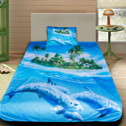 3D луксозен детски спален комплект Делфини