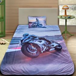 3D луксозен детски спален комплект пистов мотор