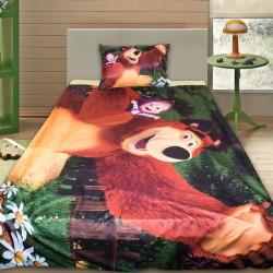 3D луксозен детски спален комплект Masha And The Bear