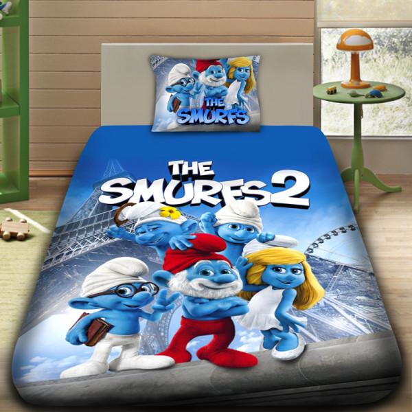 3D луксозен детски спален комплект SMURFS
