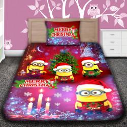 3D луксозен детски спален комплект MERRY CHRISTMAS MINIONS