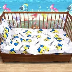 Комплект от спално бельо за бебе Миньони в бяло