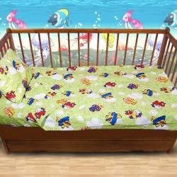 Комплект от спално бельо за бебе Самолетчета
