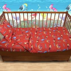 Комплект от спално бельо за бебе колите в червено