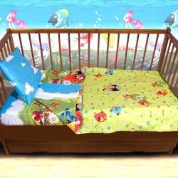 Комплект от спално бельо за бебе Angry Birds