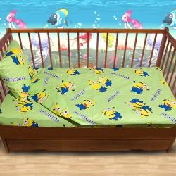 Комплект от спално бельо за бебе Миньони в зелено