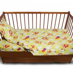 Комплект от спално бельо за бебе с мечета в зелено