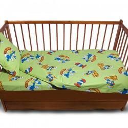 Комплект от спално бельо за бебе Смърфчета