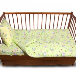 Комплект от спално бельо за бебе Hello Kitty в зелено