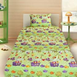 Комплект от детско луксозно спално бельо за момче Корабчета в зелено