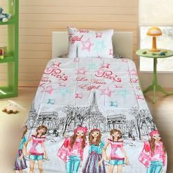 Комплект от детско луксозно спално бельо за момиче Парижанки