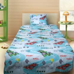 Комплект от детско луксозно спално бельо Formula 1 в зелено