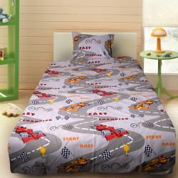 Комплект от детско луксозно спално бельо Formula 1 в сиво