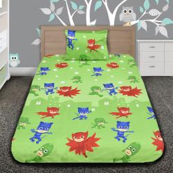 Комплект от детско луксозно спално бельо PJ MASKS green