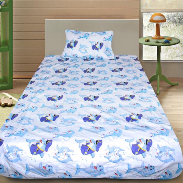Детски спален комплект Делфините в синьо