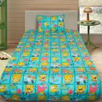 Комплект от детско луксозно спално бельо Sponge Bob в зелено