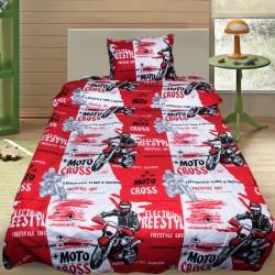 Комплект от детско луксозно спално бельо Мотокрос