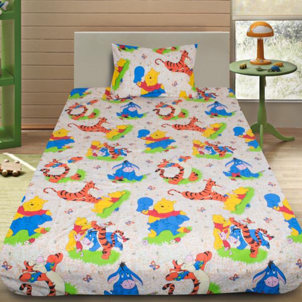 Комплект от детско луксозно спално бельо Мечо пух и приятели 2