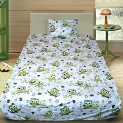 Комплект от детско луксозно спално бельо Бухалчета