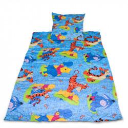 Комплект от спално бельо за бебе Мечо пух - син