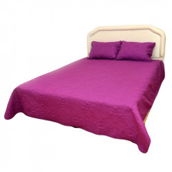 Луксозна двулицева кувертюра за спалня с подарък 2 броя калъфки в цвят циклама