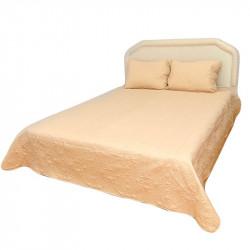 Луксозна двулицева кувертюра за спалня с подарък 2 броя калъфки в цвят банан