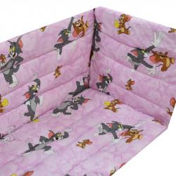 Обиколници за бебешка кошара Tom and Jerry Pink